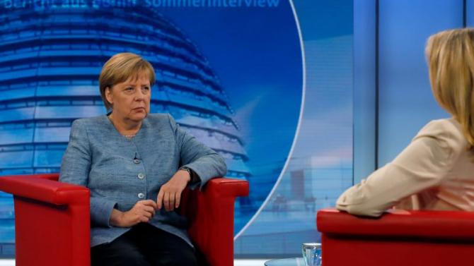 Cancelarul Germaniei, Angela Merkel, oferind un interviu televiziunii germane ARD. Sursa foto: euractiv.com