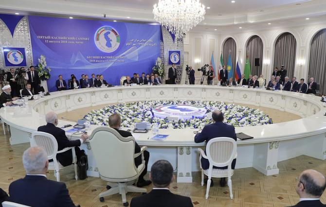 Președinții Rusiei, Kazahstanului, Iranului, Azerbaidjanului și Turkmenistanului au semnat o convenție privind statutul Mării Caspice