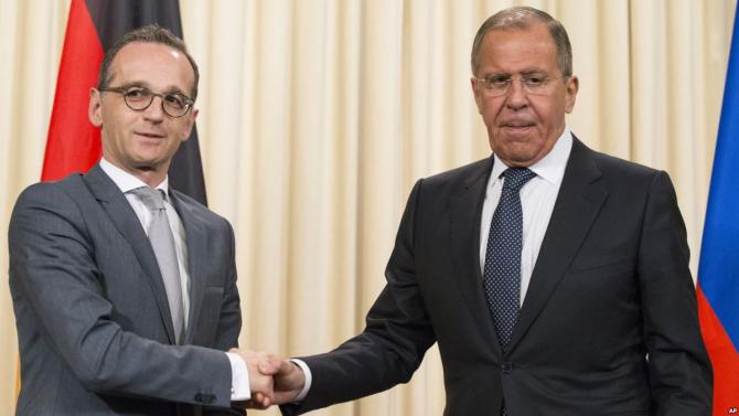 ministrul de externe german Heiko Maas si omologul său rus Serghei Lavrov