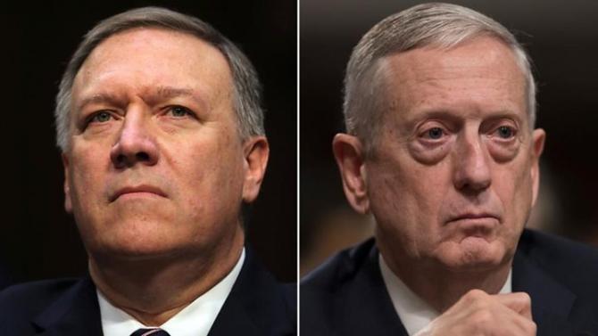secretarul de stat Mike Pompeo și secretarul apărării, James Mattis