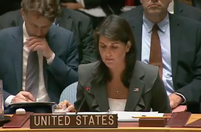 Ambasadoarea americană la ONU, Nikki Haley