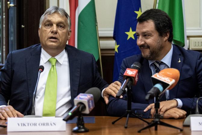 premierul Ungariei, Viktor Orban si ministrul italian de interne Matteo Salvini