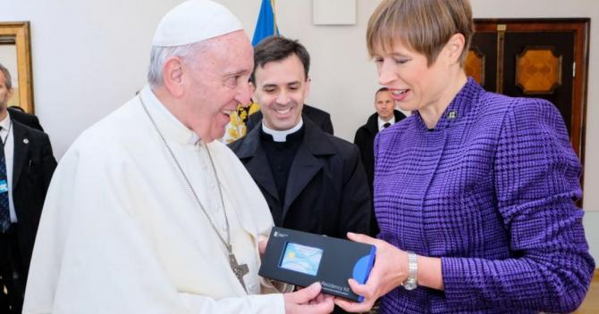 Papa Francisc şi preşedinta Estoniei, Kersti Kaljulaid
