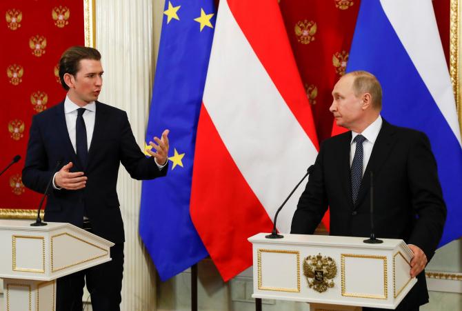 cancelarul Austriei, Sebastian Kurz si presedintele Rusiei, Vladimir Putin