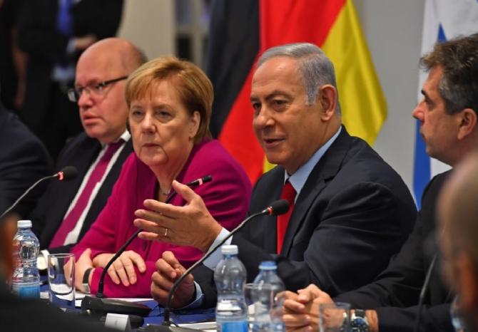 cancelarul german Angela Merkel şi premierul israelian Benjamin Netanyahu