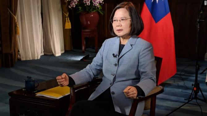 Preşedintele Taiwanului,Tsai Ing-wen, acordând un interviu postului de televiziune CNN