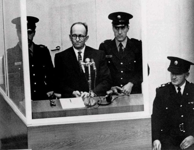 Adolf Eichmann, în timpul procesului
