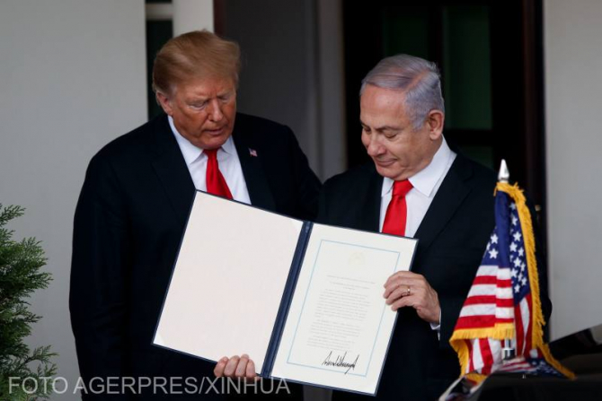 Donald Trump și Benjamin Netanyahu, în timpul vizitei premierului Israelului în Statele Unite ale Americii