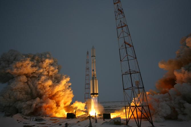 Imagini surprinse de la lansarea unei rachete, sursă foto: Roscosmos
