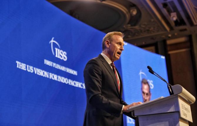 şeful Pentagonului Patrick Shanahan într-un discurs în faţa participanţilor la conferinţă cu privire la apărare şi securitate în regiunea Asia-Pacific Shangri-La Dialogue din Singapore (1-2 iunie).