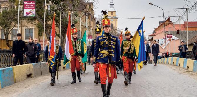 O paradă care implică minoritatea maghiară din Ucraina din oblastul ucrainean Zakarpattia (cunoscut și sub denumirea de Transcarpatia).