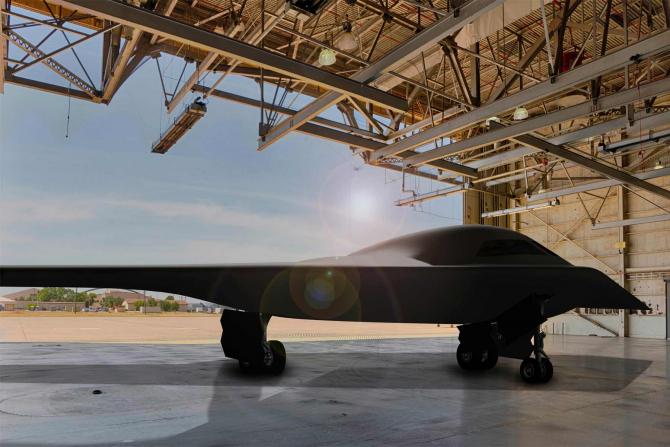 Bombardierul nuclear B-21, aflat în dezvoltare de compania Northrop Grumman pentru US Air Force.