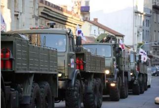 Armata rusă, pe străzile din Serbia, în contextul epidemiei de COVID-19. Sursă foto: Ministerul Apărării din Rusia