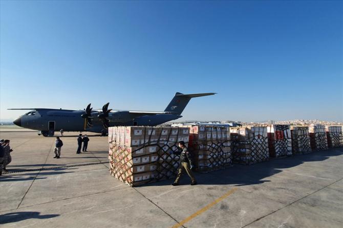 Imagini din timpul transportului ajutorului medical trimis de Turcia către SUA, în contextul pandemiei de COVID-19. Sursă foto: Ministerul Apărării din Turcia