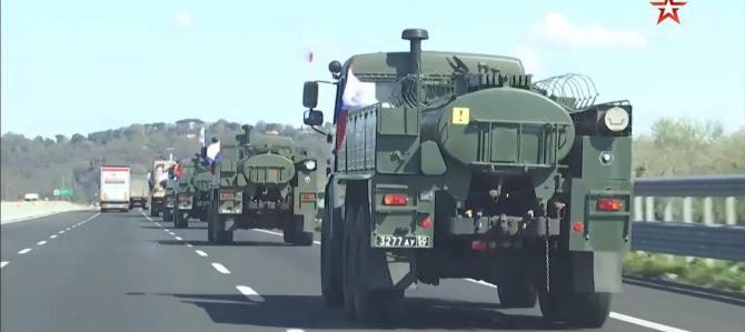 Camioane militare rusești pe străzile din Italia, sursă foto: Zvezda TV, publicația Ministerului Apărării din Rusia