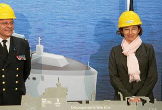 Ministrul francez al Apărării, Florence Parly, în vizită la şantierul naval Chantiers de l'Atlantique din Saint-Nazaire, vestul Franței.