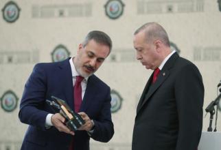 Recep Tayyip Erdogan și Hakan Fidan - șeful Agenției Naționale de Informații din Turcia (MIT)