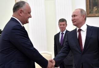Igor Dodon, fostul președinte al Republicii Moldova și Vladimir Putin, președintele Federației Ruse. Sursă foto: Kremlin