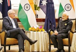Premierul Australiei, Scott Morrison și premierul Indiei, Narendra Modi