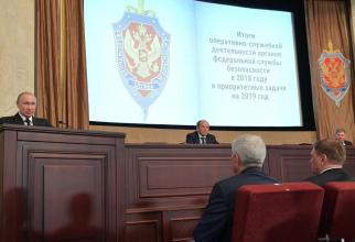 Vladimir Putin la şedinţa anuală a consiliului de administrație al Serviciului Federal de Securitate (FSB) - din 2019. Sursa: KREMLIN.RU