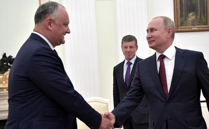 Igor Dodon, președintele Republicii Moldova și Vladimir Putin, președintele Federației Ruse. Sursă foto: Kremlin