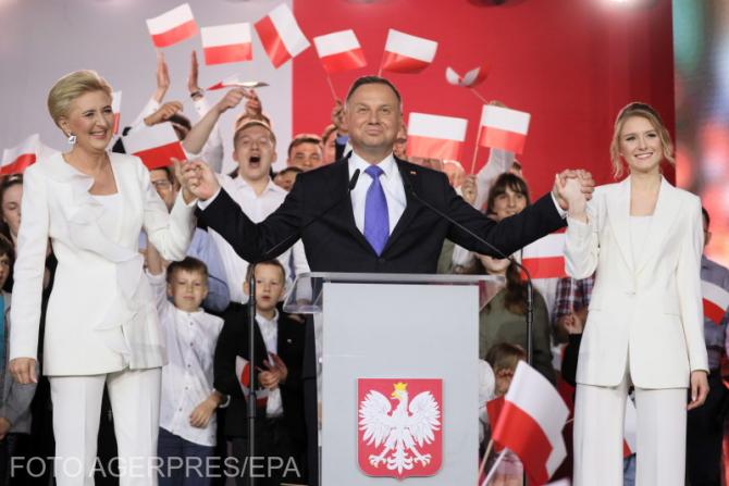 Președintele Poloniei Andrzej Duda, alături de soție și fiică