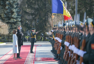 Klaus Iohannis, președintele României, aflat într-o vizită la Chișinău, și Maia Sandu, președintele Republicii Moldova. Sursă foto: Administrația Prezidențială a României