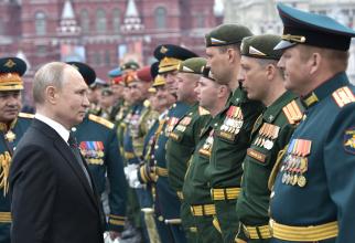 Președintele rus Vladimir Putin, la parada militară cu prilejul Zilei Victoriei, 9 mai 2019, în Piața Roșie din Moscova. Sursă foto: Kremlin