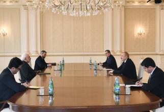Ministrul de Externe al Iranului, Mohammad Zarif si presedintele Azerbaidjanului, Ilham Aliyev Sursa foto: Twitter