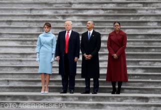 Foto: Președinții Donald Trump și Barack Obama, la ceremonia de învestire a președintelui republican, pe data de 20.01.2017. Alături de ei, cele două prime doamne: Melania Trump și Michelle Obama