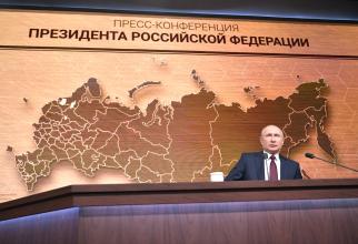 Președintele Vladimir Putin, în timpul conferinței sale anuale. Sursă foto: Kremlin