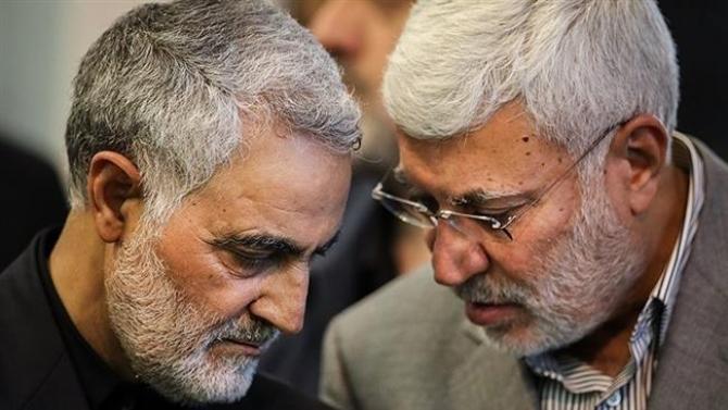 Abou Mehdi al-Mouhandis si generalul iranian Qassem Soleimani. Sursa Foto: Press TV.