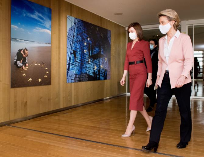 Președintele moldovean Maia Sandu și Ursula von der Leyen, președintele Comisiei Europene. Sursă foto: Maia Sandu Facebook
