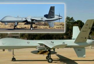 Drona Iranului Kaman 22, și, în stânga sus, MQ-9 Reaper. Sursă foto: www.TheAviationist.com