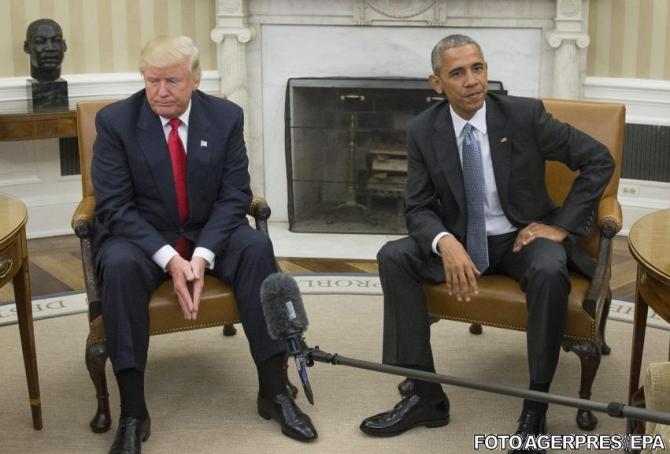 Donald Trump, al 45-lea președinte al Statelor Unite ale Americii și Barack Obama, al 44-lea președinte american