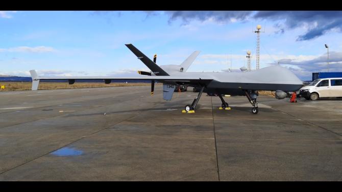 Drona MQ-9 Reape la Câmpia Turzii. Sursa Foto: Captură video Cluj24.ro