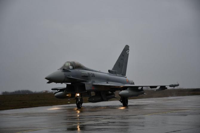 Un Eurofighter Typhoon al Spaniei, la baza Mihail Kogălniceanu, sursă foto: NATO Allied Air Command Facebook