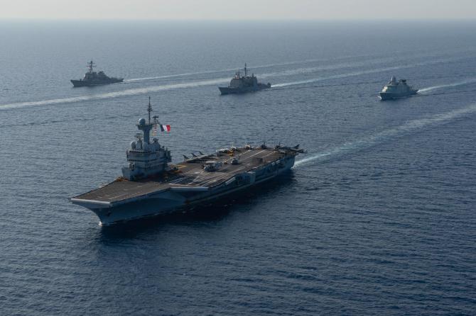 Grup de lupta portavion francez Charles de Gaulle  Sursa foto: Twitter