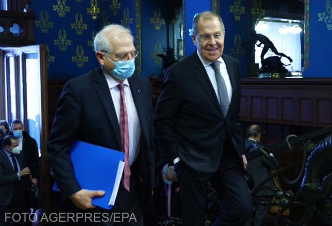 Josep Borrell, șeful diplomației europene, și Serghei Lavrov, ministrul de Externe al Federației Ruse