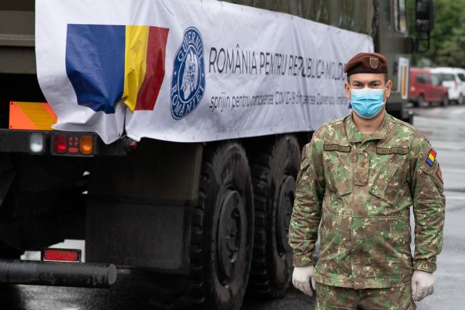 Foto: Pregătirea transportului umanitar pe care România l-a trimis în Republica Moldova, mai 2020. Sursă: Guvernul României