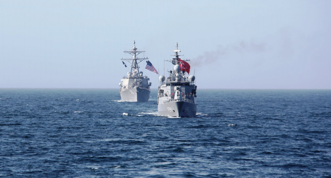 Nave ale Marinei Turciei și SUA, sursă foto: Ministerul Apărării din Turcia - Facebook