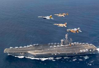 Portavionul USS Dwight D. Eisenhower, în timpul unor exerciții militare cu Forțele Aeriene ale Marocului, sursă foto: US Navy