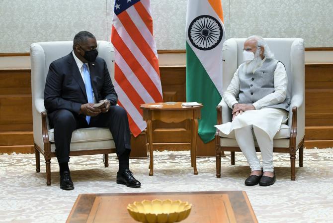 Șeful Pentagonului, Lloyd Austin și premierul Indiei, Narenda Modi  Sursa foto: Twitter
