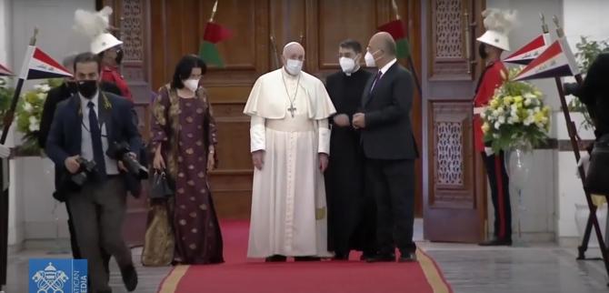 Vizita Papei Francisc în Irak, sursă foto: Captură YouTube Vatican Media