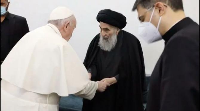 Papa Francisc si Ayatolahul Ali Al-Sistani Irak  Sursa foto: Twitter