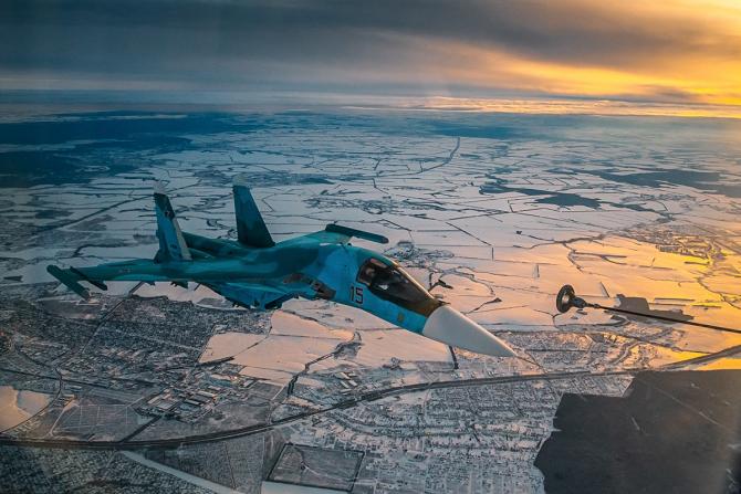 Su-34, sursă foto: Ministerul Apărării de la Moscova - Facebook