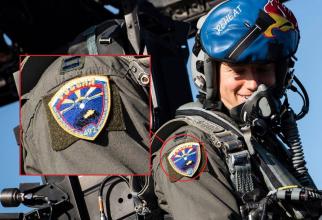 """Pilot american cu însemn militar pe care apare un Su-27 și pe care scrie """"RUSIA"""". Sursă foto:  Airman 1st Class Jessi Monte via Defence-Blog.com"""