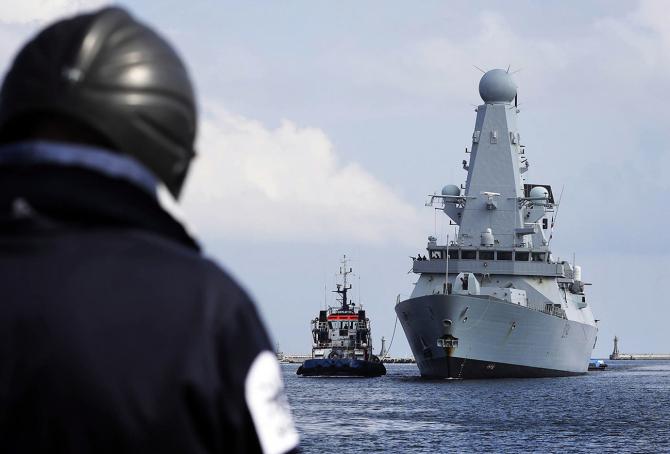 Distrugătorul britanic HMS Diamond, la sosirea într-o misiune în Polonia. Sursă foto: Royal Navy