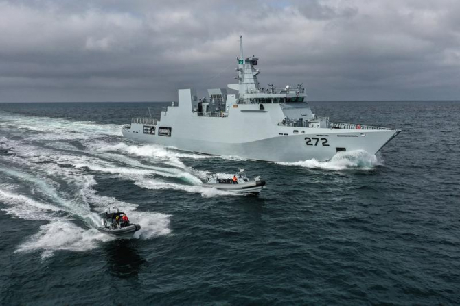 Corveta PNS Tabuk, a Marinei Pakistanului, produsă de Damen la Șantierul Naval Galați din România. Sursă foto: Damen
