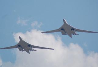 Bombardiere strategice de tip Tu-160 aparținând Forțelor Aerocosmice ale Federației Ruse.